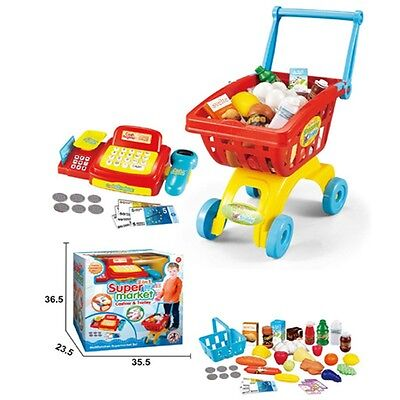£17.95 • Buy Childrens Red Cash Register Till & Shopping Trolley Kids Role Play Toy Set 6809