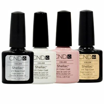 £67.35 • Buy CND Shellac French Manicure Kit Top Base Coat Color Nail Polish Gel White Pink