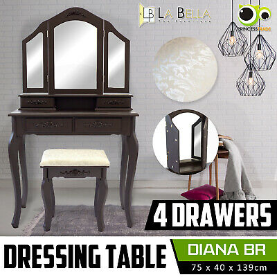 AU121 • Buy Luxury Dressing Table Makeup & Stool Mirrors Jewellery Cabinet 4 Drawers DIANA
