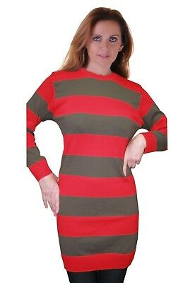 Ladies Red & Green Striped Knitted Jumper Fancy Dress Freddy Krueger Costume • 12.75£