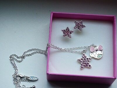 Me To You   Necklace & Pink Earrings Set With Crystal Stone`s   New & Boxed • 14£