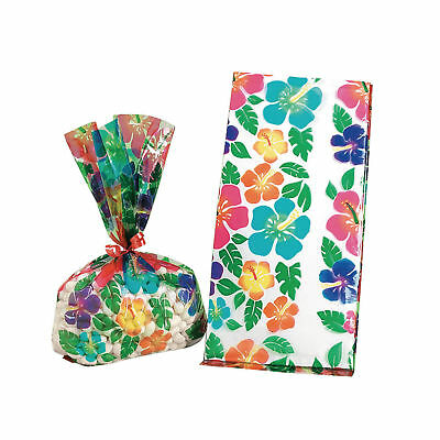 12 HIBISCUS FLOWER Design CELLOPHANE Luau Birthday Party Favor Loot Bags • 1.25£