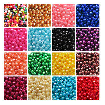 ACRYLIC FAUX PEARL BEADS  3mm - 8mm *21 COLOURS* BEADING WEDDING CRAFTS • 1.49£
