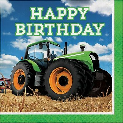 AU6.99 • Buy Tractor Party Supplies Large Happy Birthday Napkins Serviettes (pack 16)