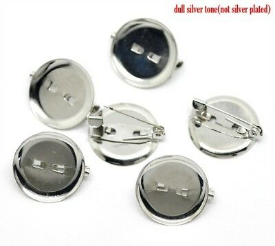 £7.99 • Buy 100x Brooch Vintage Blank Round Pad Silver Tone Cabochon Mounting 20mm Fit 18mm