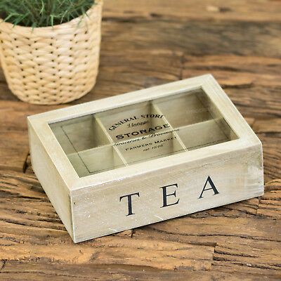 General Store 6 Compartment Vintage Tea Bag Box Caddy Storage Chest Shabby Chic • 9.99£