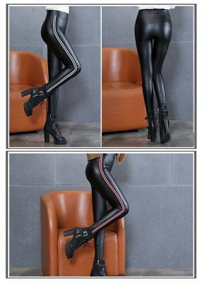 Women Synthetic Leather Trousers High Waist Leggings Slim Skinny Casual Stretchy • 19.99£