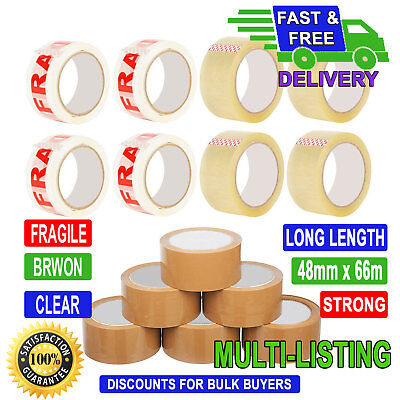 12 36 6 72 ROLLS CAUTION PRINTED PACKING TAPE  66M X 48MM WITH FREE TAPE GUN