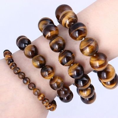 $4.49 • Buy Natural Tiger Eye Stone Lucky Bless Beads Men Woman Jewelry Bracelets 6/8/10MM