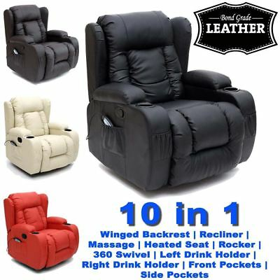 £329.99 • Buy Caesar 10 In 1 Winged Leather Recliner Chair Rocking Massage Swivel Heated