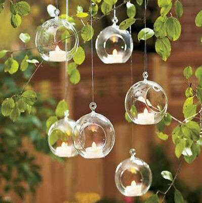 Glass Clear Open Mouth Baubles Round Candle Tea Light Holder Hanging Tree Plant • 8.95£