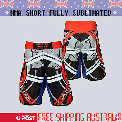 AU33.99 • Buy QP MMA UFC Grappling Fight Shorts Kick Boxing Cage Fighting Full Sublimation Red
