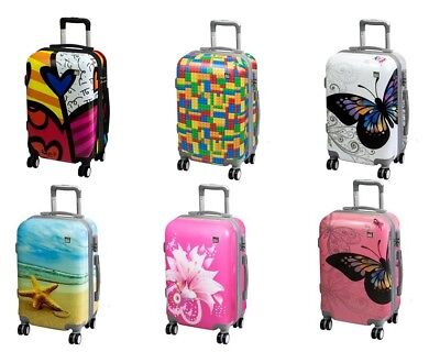 A2S Cabin Luggage Lightweight & Durable Hard Shell Suitcase 8 Wheels Carry-on • 54.99£