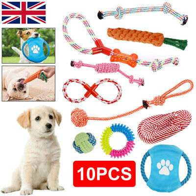 UK 10Pcs Dog Rope Toys Tough Strong Chew Knot Teddy Pet Puppy Bear Cotton Toy • 10.99£