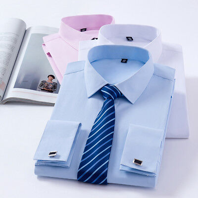 New French Cuff Mens Classic Convertible Solid Dress Long Sleeves Shirts 6517 • 11.59£