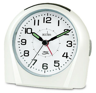 Acctim Europa White Analogue Alarm Clock Non Ticking Silent Sweeper 14112 Sweep • 16.95£