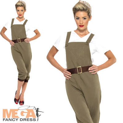 WW2 Land Girl Ladies Fancy Dress 1940s British Wartime Adults Costume Outfit  • 31.99£