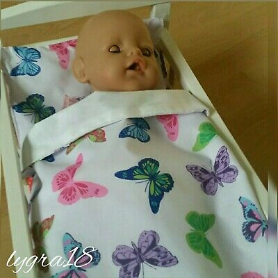 Baby Doll Bed /Pram/ Cot Bedding Blanket & Pillow Set (Butterfly)baby Annabell.. • 6.50£
