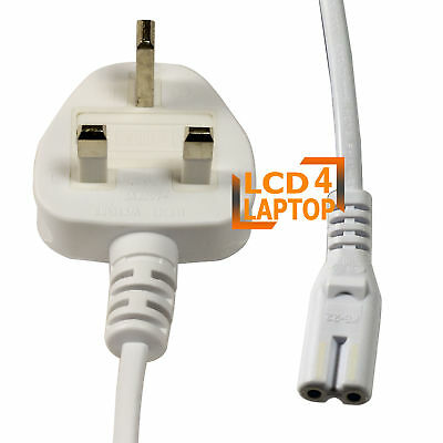 £4.99 • Buy 1.8m C7 Figure 8 UK 2 Pin Lead Cable Laptop TV LCD Mains Power Cord Fig8 White