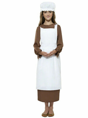 $8.69 • Buy Girls Victorian Maid Kit Oliver Fancy Dress Outfit Peasant Costume Apron Hat