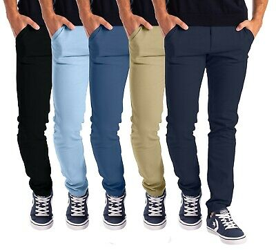 $21.95 • Buy Mens Stretch Skinny Slim Fit Chino Pants Flat Front Casual Super Spandex Trouser