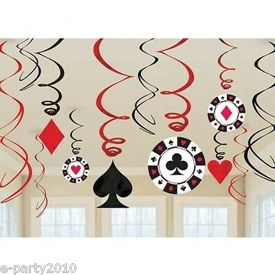$6.89 • Buy CASINO NIGHT SWIRL DECORATIONS (12) ~ Poker Game Room Birthday Party Supplies