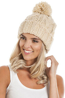 £1.99 • Buy Womens Beige Cable Knit Pom Pom Beanie Hat One Size Fits All *Fast Delivery