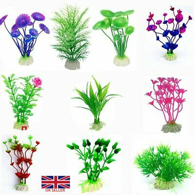 10x Artificial Fake Fish Tank Plants Aquarium Aquatic Decor Ornament Flower UK • 3.69£