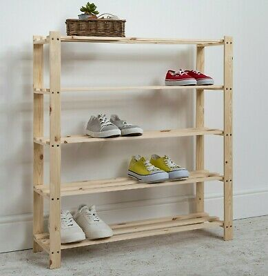 £9.99 • Buy Shoe Rack Storage Unit In Pine 5 Tier Pine Wooden Choice Of Sizes