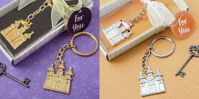 Gold Or Silver Castle Cinderella Fairy Tale Themed Keychains Wedding Favors • 2.01£