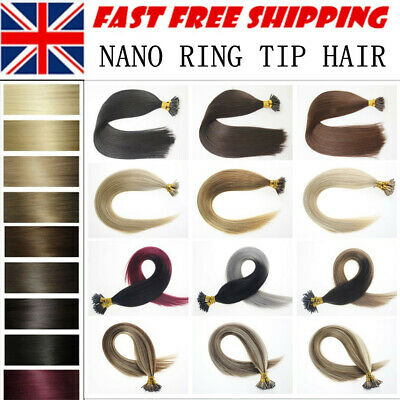 1G 16 -24'' Russian Remy Nano Ring Human Hair Extensions Double Drawn Micro Loop • 32£