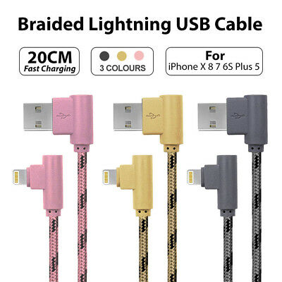 AU3.95 • Buy 20CM Short Braided Lightning USB Cable Fast Charging Cord IPhone X 8 7 6S Plus 5