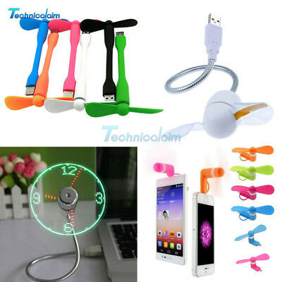 AU9.31 • Buy Portable Micro/Mini LED USB Cooling Clock Fan Flashing Real Time Display Android