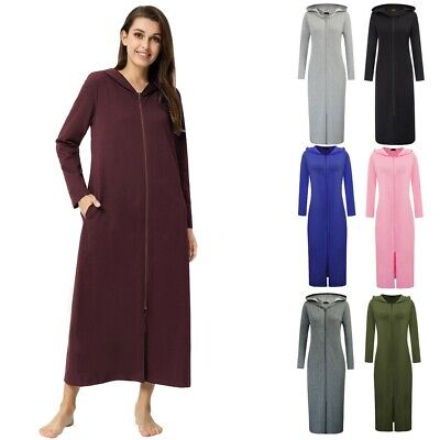 Womens Autumn Long Sleeve Hoody Sweatshirt Hoody Zip-front Long Dressing Gown • 13.96£