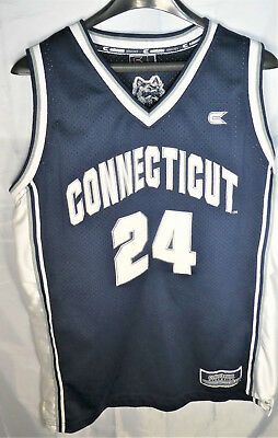 e44c6148d605 VTG UCONN HUSKIES COLLEGE BASKETBALL JERSEY Large NAVY BLUE WHITE • 32.99