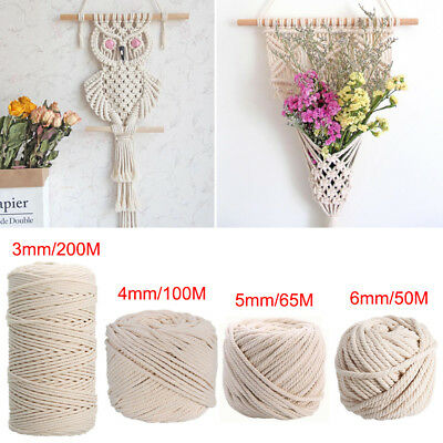AU12.95 • Buy 3/4/5/6mm Macrame Rope Natural Beige Cotton Twisted Cord Artisan Hand Craft AU