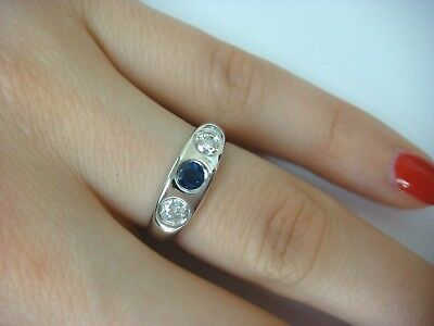 $650 • Buy 14k White Gold Ladies Gypsy Ring 0.55 Ct T.w. Royal Blue Sapphire And 2 Diamonds