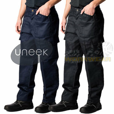 £12.95 • Buy Mens Work Cargo Pocket Combat Workwear Black Navy Army Trousers Military Pants