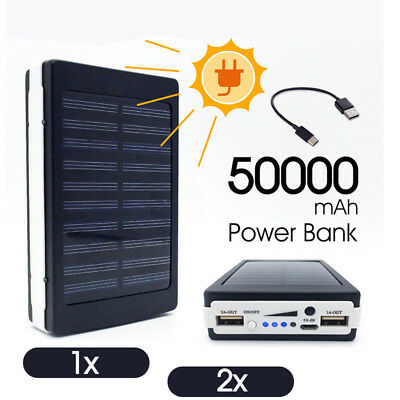 AU24.83 • Buy 1x 2x 50000mah Solar Power Bank Portable External Battery Dual USB Phone Charger