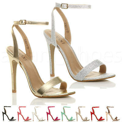 Womens Ladies High Heel Ankle Strap Barely There Strappy Sandals Shoes Size • 17.99£