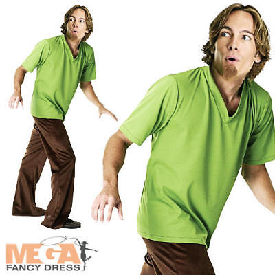 Shaggy Costume + Wig Fancy Dress Scooby Doo Cartoon Mens Halloween Adult Outfit • 31.99£