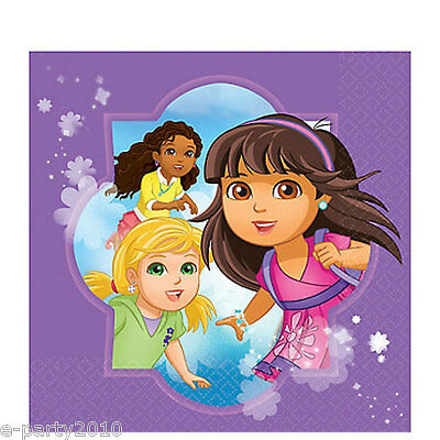 DORA THE EXPLORER AND FRIENDS LUNCH NAPKINS (16) ~ Birthday Party Supplies Large • 2.98£