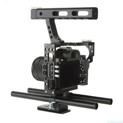 DSLR Rod Rig Camera Video Cage & Handle Grip For Sony A7 A7r A7s II A6300  GH4 • 49.56£