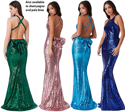 £43.99 • Buy Goddiva Sequin Backless Bow Detail Fishtail Party Evening Prom Dress Bridesmaid