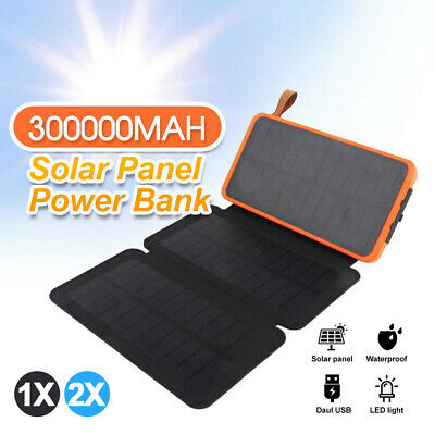 AU30.89 • Buy Waterproof Portable Solar Charger Dual USB External Battery Power Bank 300000mAh