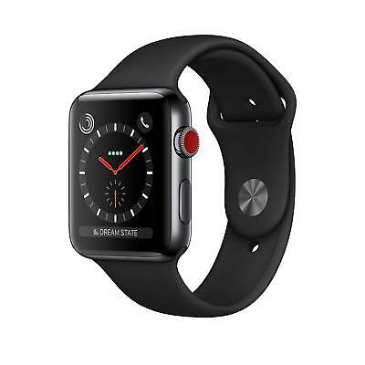 $ CDN206.20 • Buy Apple Watch Series 3 42mm Stainless Steel Case Black Band (GPS + Cellular) Watch