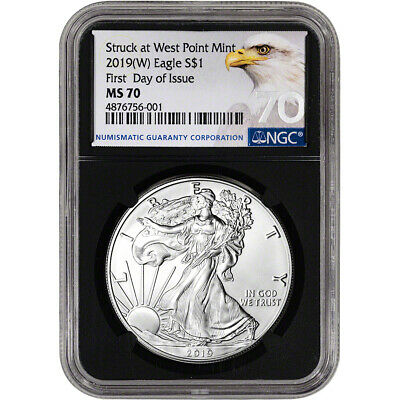$53.55 • Buy 2019-(W) American Silver Eagle - NGC MS70 - First Day Of Issue - Grade 70 - Blac
