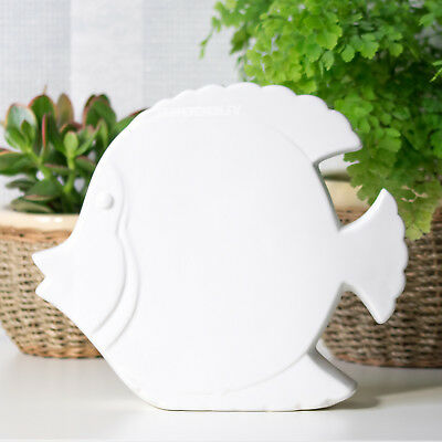 25cm Large White Fish Ceramic Ornament Figure Nautical Home Bathroom Decoration • 11.99£