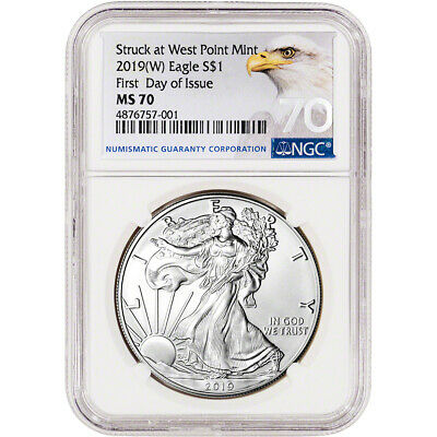 $53.55 • Buy 2019-(W) American Silver Eagle - NGC MS70 - First Day Of Issue - Grade 70