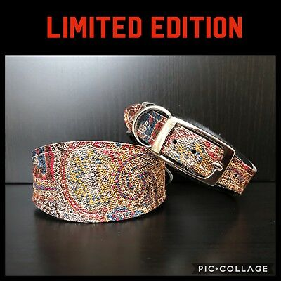 SMALL Leather Dog Collar LINED Greyhound Whippet Lurcher Saluki ORIENTAL PRINT • 17.99£